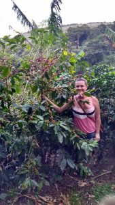 Michelle Miller standing with the coffee plants!