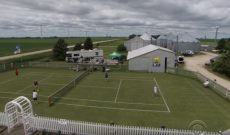 Iowa farmer makes replica of Wimbledon tennis court on old feed lot