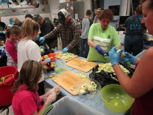 Omar FFA working on one of their major fundraising activities -- apple pies. This year the chapter sold 444.